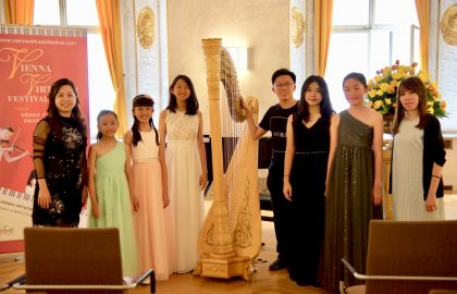 Katryna Tan and students in Vienna, June 2018