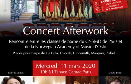 Concert des classes de harpe du CNSMD de Paris et de la Norwegian Academy of Music d'Oslo